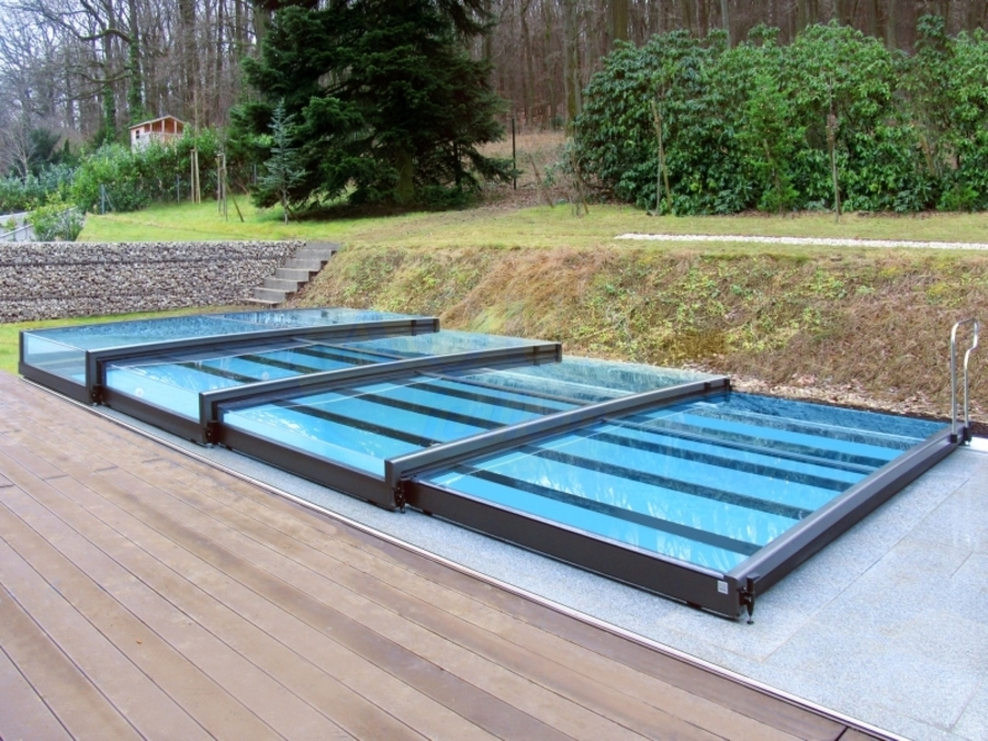 Abri piscine plat t lescopique full vision for Abris de piscine plat