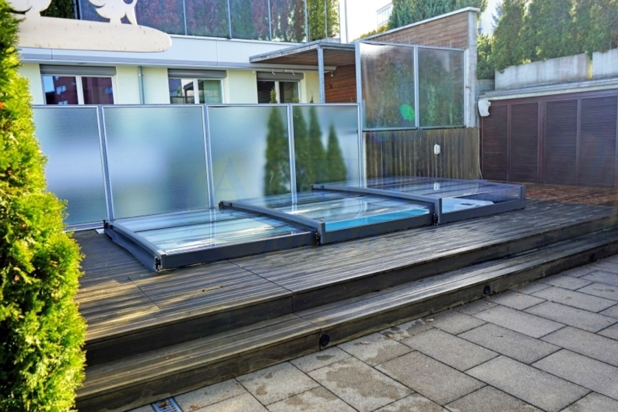 Abri piscine plat t lescopique full vision for Abris piscine plat