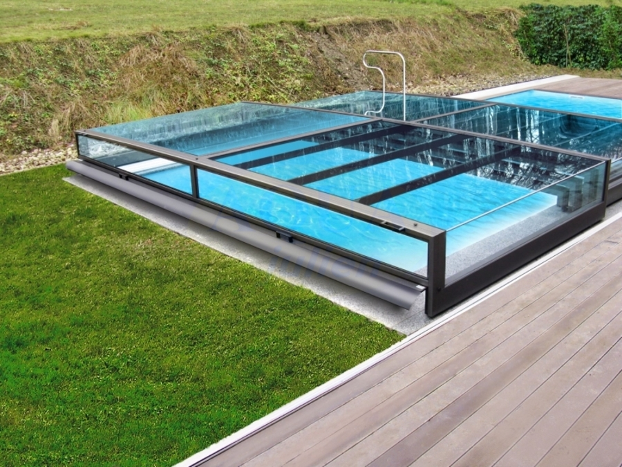 Abri piscine plat t lescopique full vision for Abri piscine plat